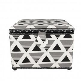 Petite boîte à couture carrée L26xH19cm triangles gris