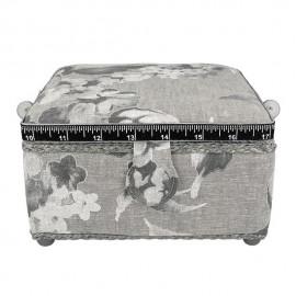 Petite boîte à couture carrée L20xH11cm fleurs aquarelle