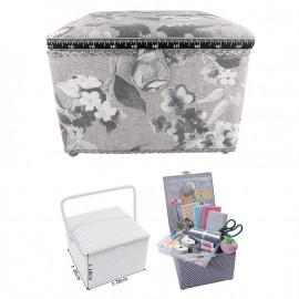 Petite boîte à couture carrée L26xH19cm fleurs aquarelle