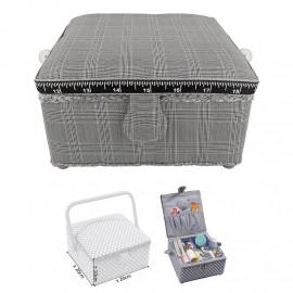 Petite boîte à couture carrée L20xH11cm quadrillage élégance
