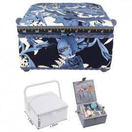 Petite boîte à couture carrée L20xH11cm Fleur bleue de nuit