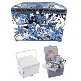 Petite boîte à couture carrée L26xH19cm fleur bleue de nuit