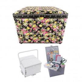 Petite boîte à couture carrée L26xH19cm Fleurs sur fond noir