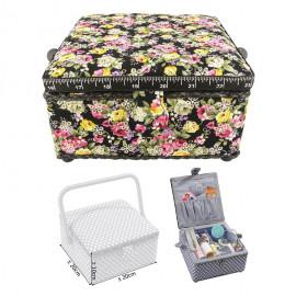 Petite boîte à couture carrée L20xH11cm Fleurs sur fond noir