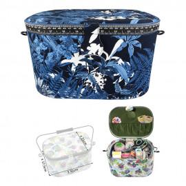 Boîte à couture ovale 21x31x18cm Fleurs bleues de nuit