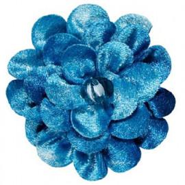 Broche fleur velours turquoise
