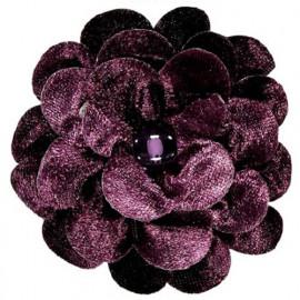 Broche fleur velours violet