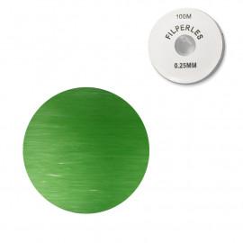 Bobine fil nylon coloré pour perles 100m - Vert C015