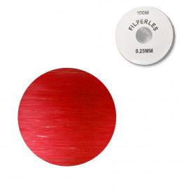 Bobine fil nylon coloré pour perles 100m - Rouge C008