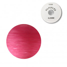 Bobine fil nylon coloré pour perles 100m - Fuschia C073