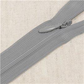 Fermeture invisible non séparable ajustable - gris cendre