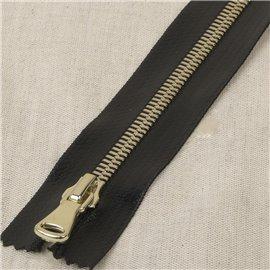 Fermeture enduite non séparable maille métal or - noir