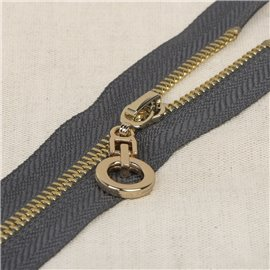 Fermeture unie non séparable zip rond - gris foncé