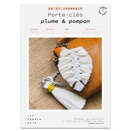 French Kits DIY Macramé Porte clés Plume & Pompon