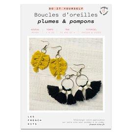 French Kits DIY Macramé Boucles d'oreilles Plumes & Pompons