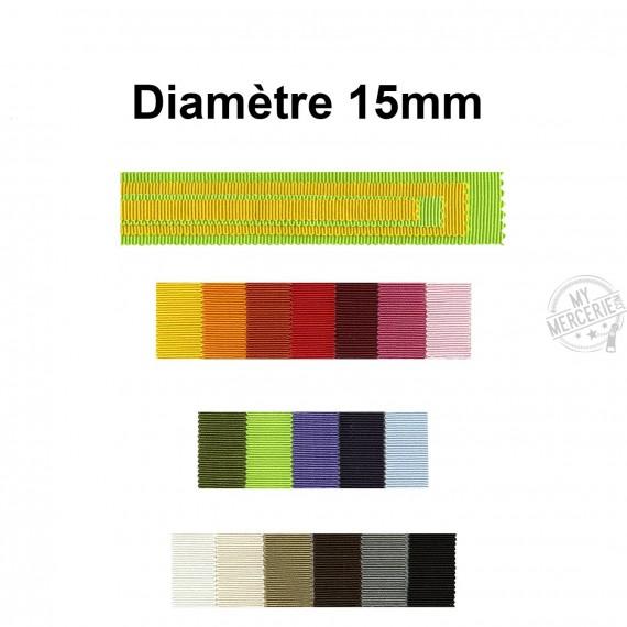Ruban gros grain 100% coton 15mm au mètre