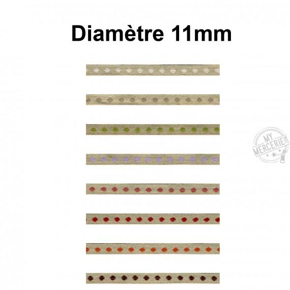 Galon Pois en lin 11mm vendu au mètre