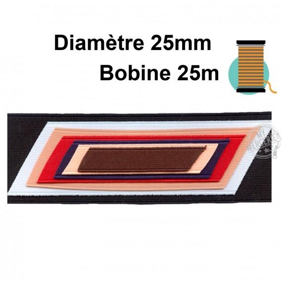 Bobine 25m élastique cotelé 25mm
