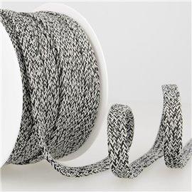 Bobine 25m Tresse chinée tubulaire 12 mm Noir et gris