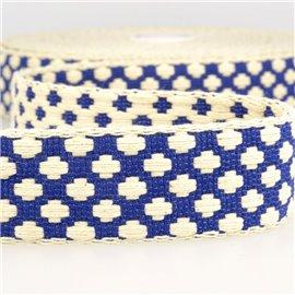 Bobine 10m Sangle motif croix 37 mm Bleu et écru