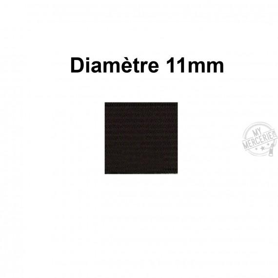 Elastique 11 mm indémaillable noir au mètre