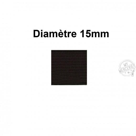 Elastique 15 mm indémaillable noir au mètre