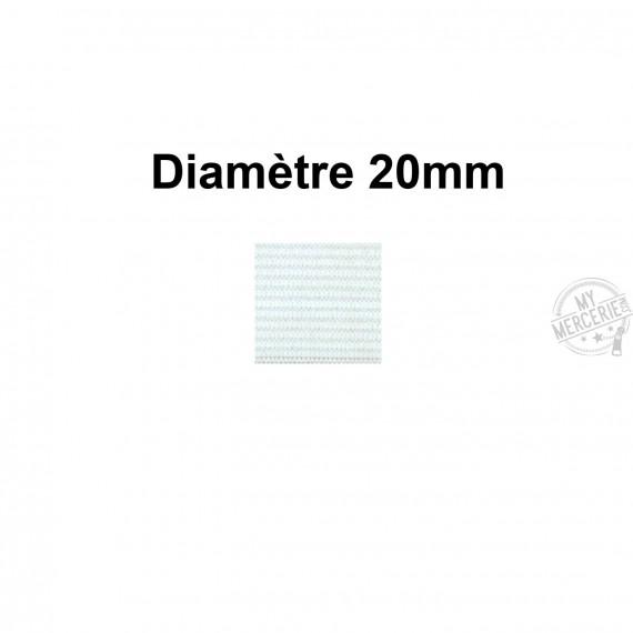 Elastique 20 mm indémaillable blanc au mètre