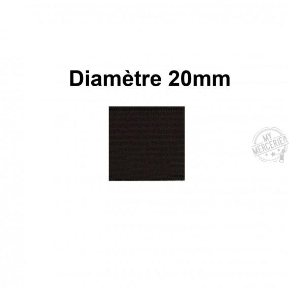 Elastique 20 mm indémaillable noir au mètre