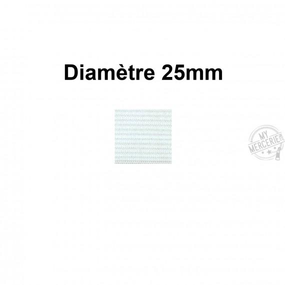 Elastique 25 mm indémaillable blanc au mètre