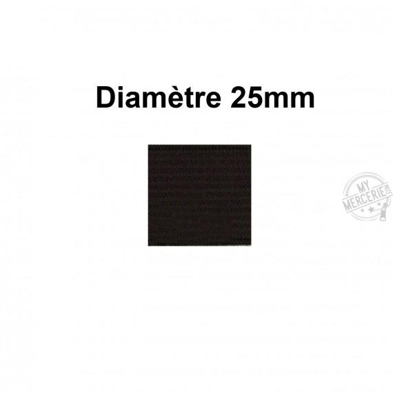 Elastique 25 mm indémaillable noir au mètre