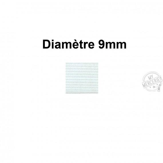 Elastique 9 mm indémaillable blanc au mètre