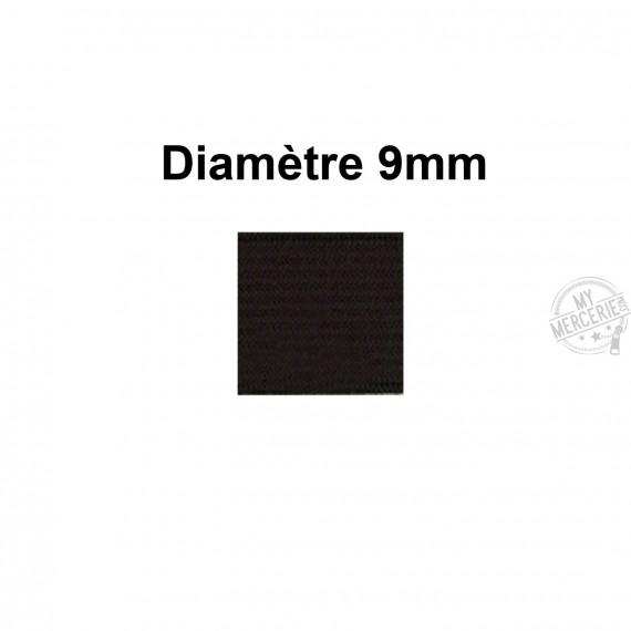 Elastique 9 mm indémaillable noir au mètre