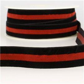 Bobine 15m Velours stripes polyester Noir et rouge et noir