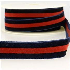 Bobine 15m Velours stripes polyester Marine et rge et mari