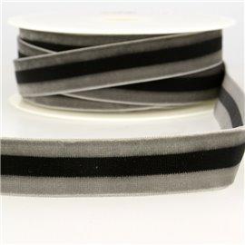 Bobine 15m Velours stripes polyester Gris et noir et gris