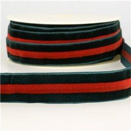 Bobine 15m Velours stripes polyester Vert et rouge et vert