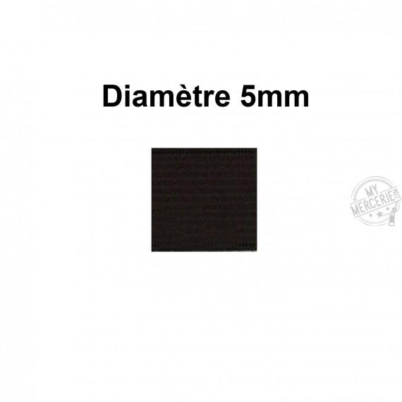 Elastique 5 mm indémaillable noir au mètre