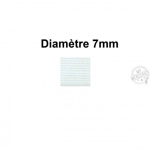 Elastique 7 mm indémaillable blanc au mètre