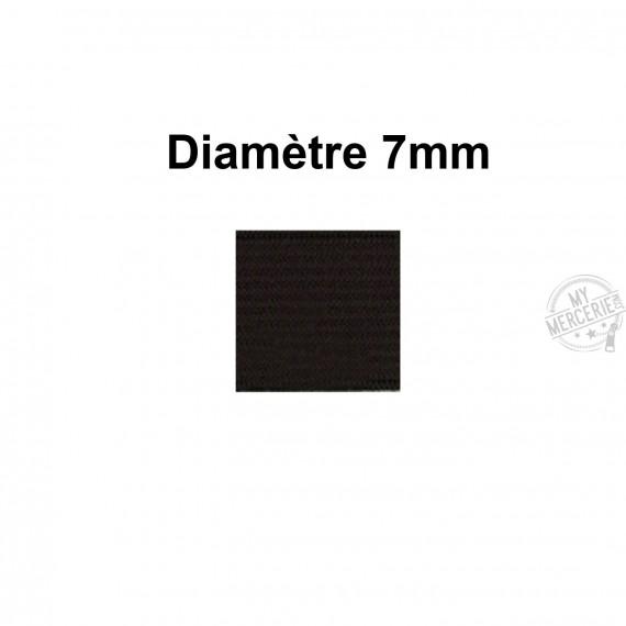 Elastique 7 mm indémaillable noir au mètre