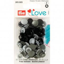 Prym Love Boutons pression plastique 12mm orange/fuchsia/violet