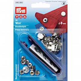 Boutons pression Prym Mini laiton 8 mm argent et outil