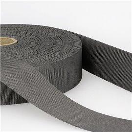 Bobine 25m sangle bandoulière polyester Gris Noir