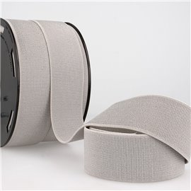 Bobine 20m élastique métal 40mm gris clair