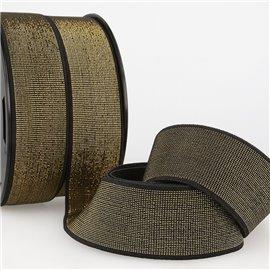Bobine 20m élastique métal 40mm noir/or