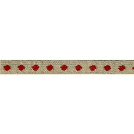 Bobine 25m galon marron Pois Rouge en lin 11mm