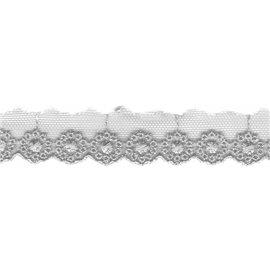 Bobine 14,5m Broderie sur tulle 20mm gris clair