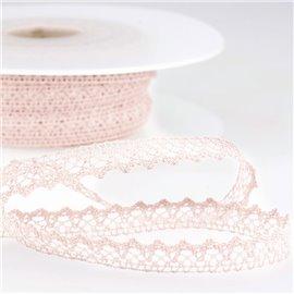 Bobine 30m Dentelle 100% coton 8mm rose clair