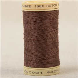 Bobine fil 100% coton made in France 445m - Marron tabac C81
