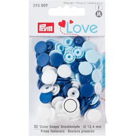 Prym Love Boutons pression plastique 12mm bleu/blanc/bleu clair