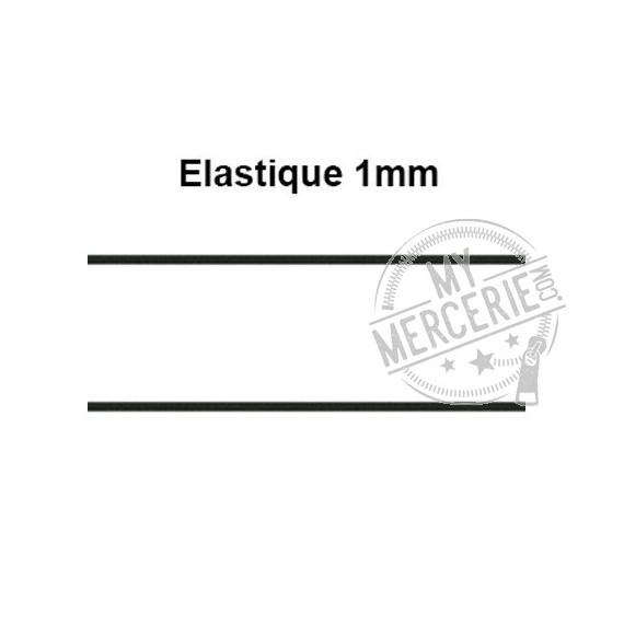 Elastique rond 1mm noir au mètre